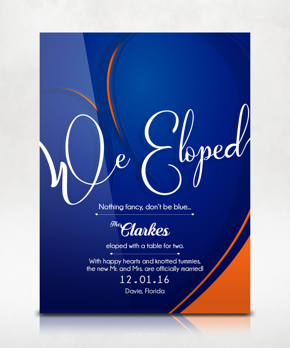 We Eloped Announcement Flyer